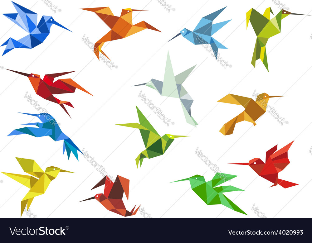 Abstract origami hummingbirds design elements vector | Price: 1 Credit (USD $1)
