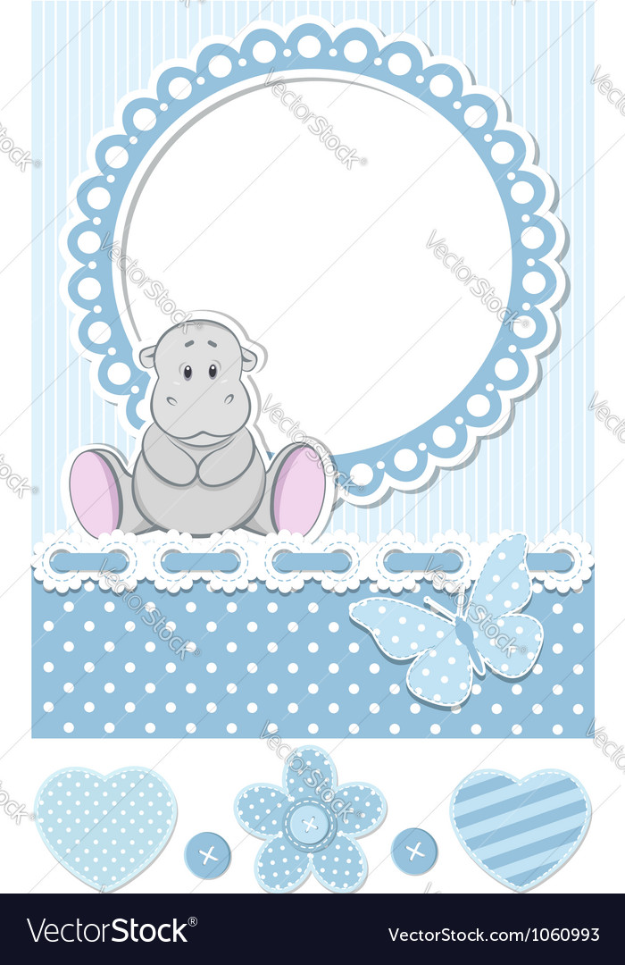 Baby hippo blue scrapbook set vector | Price: 1 Credit (USD $1)