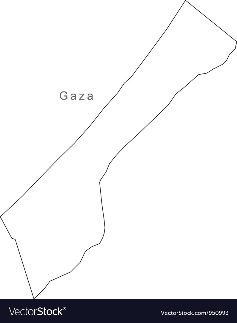 Black white gaza outline map vector | Price: 1 Credit (USD $1)