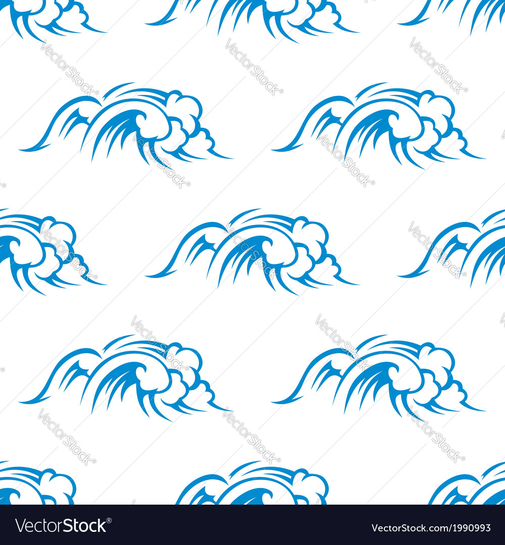 Curling breaking waves seamless pattern vector | Price: 1 Credit (USD $1)