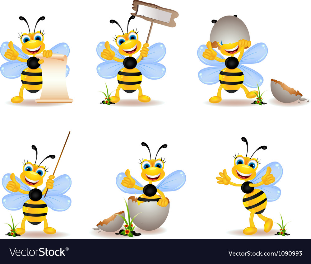 Cute bee cartoon collection vector | Price: 1 Credit (USD $1)