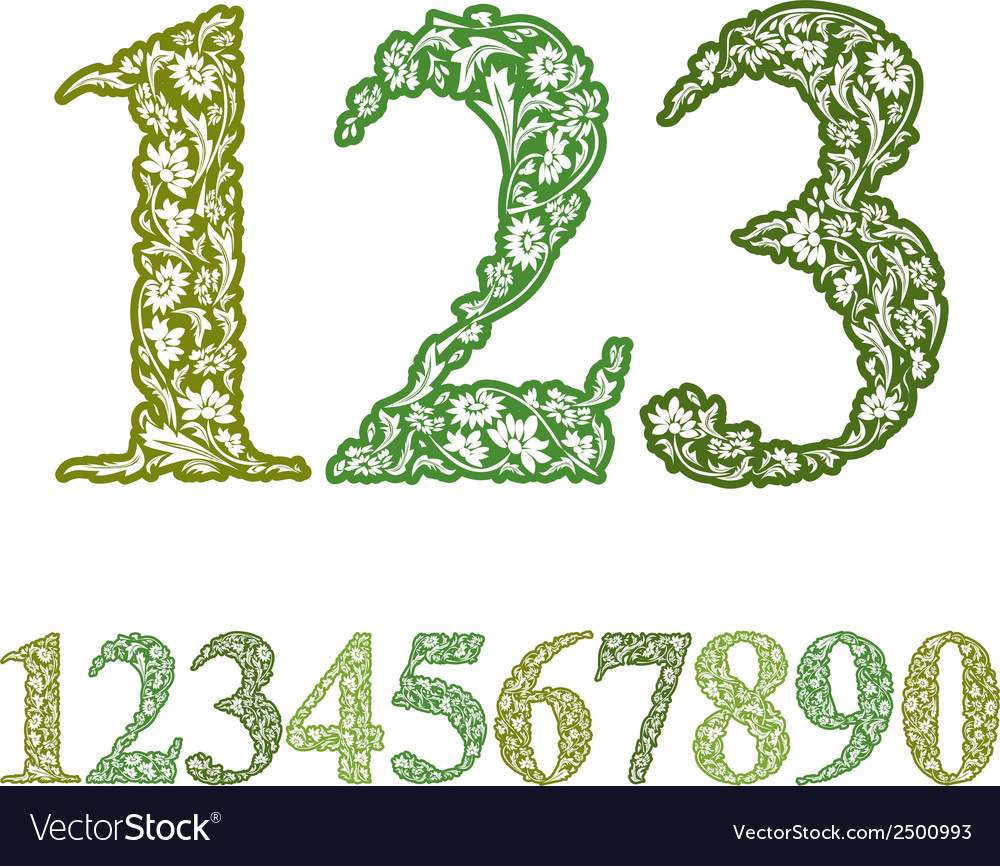Floral numbers set vintage style numerals set vector | Price: 1 Credit (USD $1)