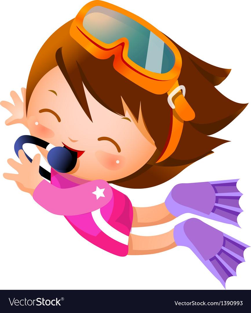 Girl snorkeling vector | Price: 3 Credit (USD $3)