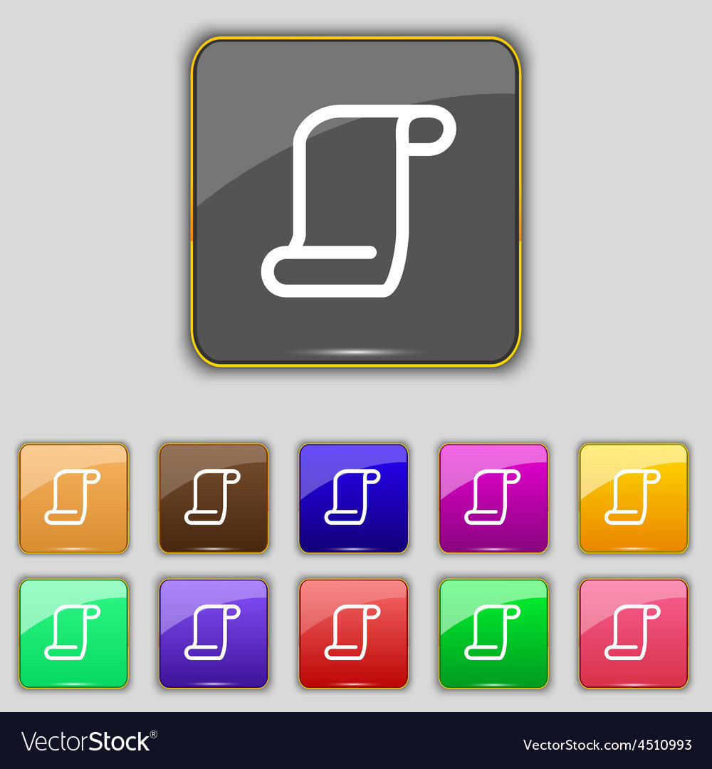 Paper scroll icon sign set with eleven colored vector | Price: 1 Credit (USD $1)