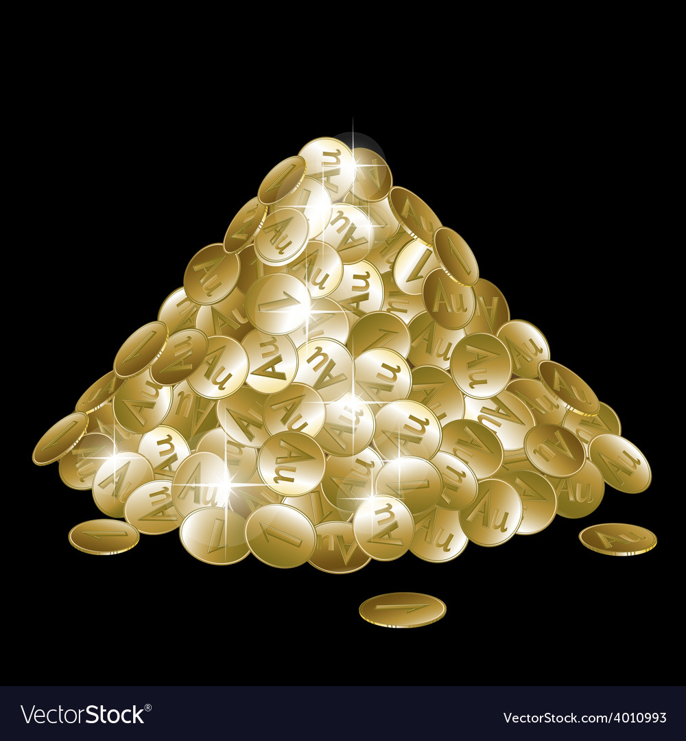 Pile of gold coins isolated on black background vector | Price: 1 Credit (USD $1)
