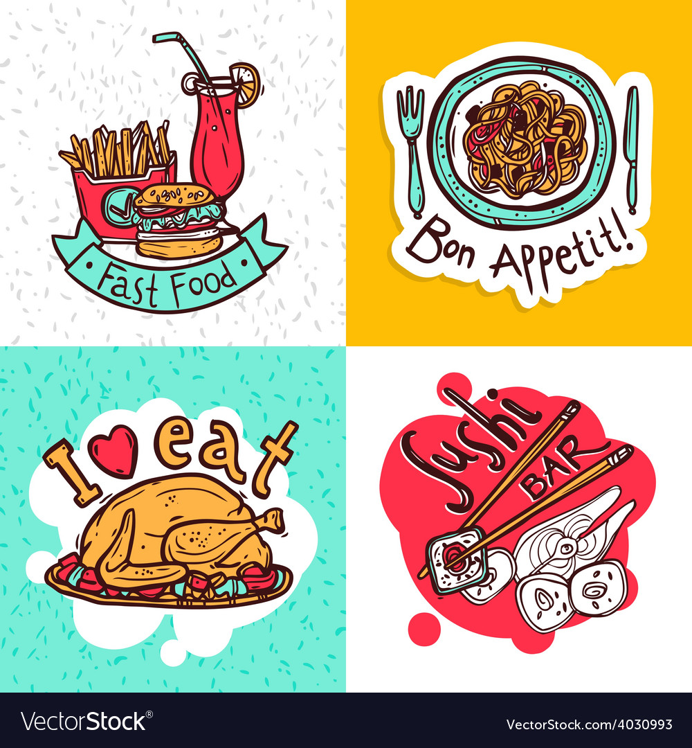 Restaurant concept icons composition design vector | Price: 1 Credit (USD $1)