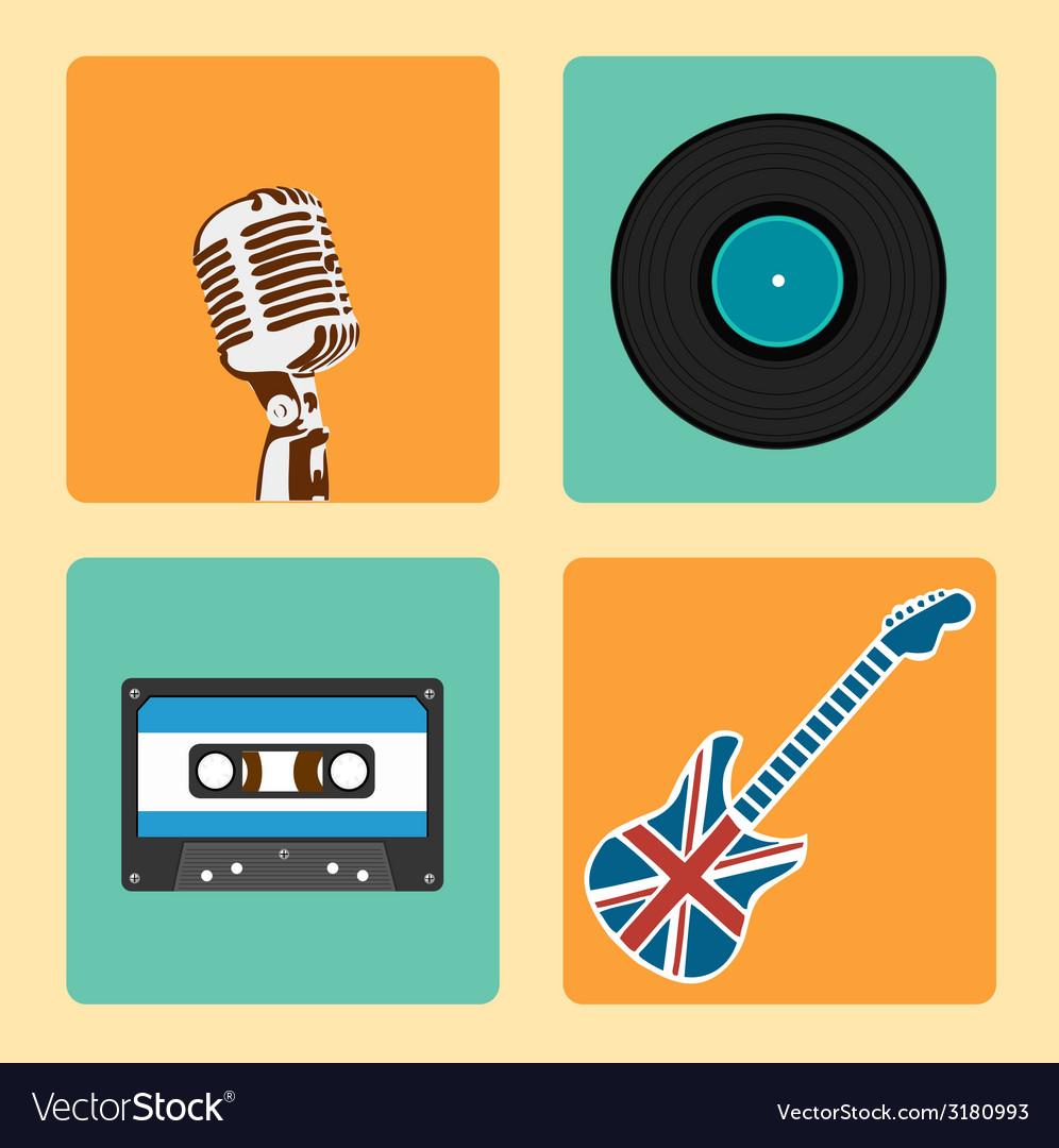 Retro music icons set vector | Price: 1 Credit (USD $1)