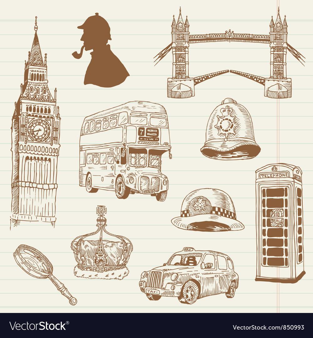 Set of london doodles vector | Price: 1 Credit (USD $1)