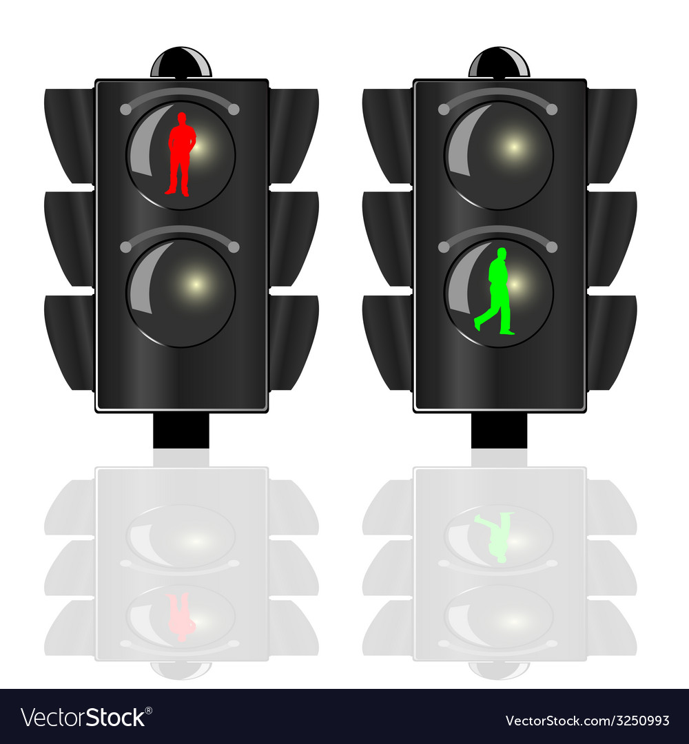 Traffic lights for pedestrians with red and green vector | Price: 1 Credit (USD $1)