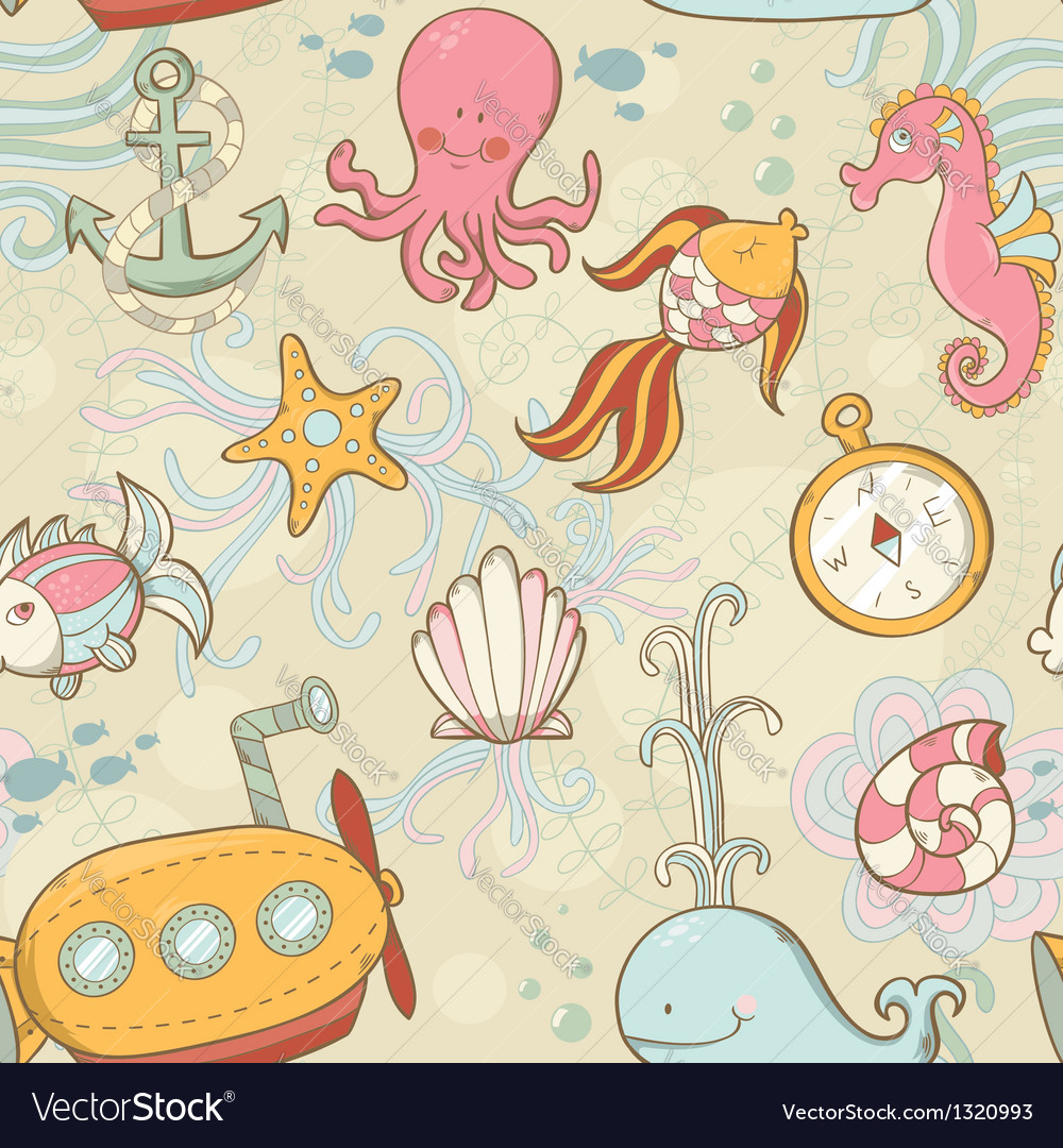 Underwater creatures seamless pattern vector | Price: 3 Credit (USD $3)