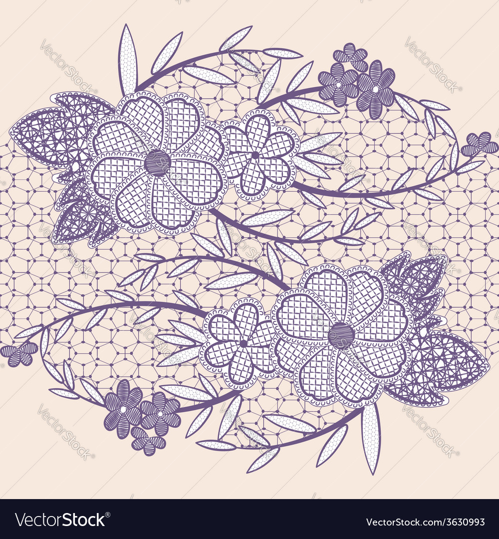 Wide seamless lace ribbon with flowers vector | Price: 1 Credit (USD $1)
