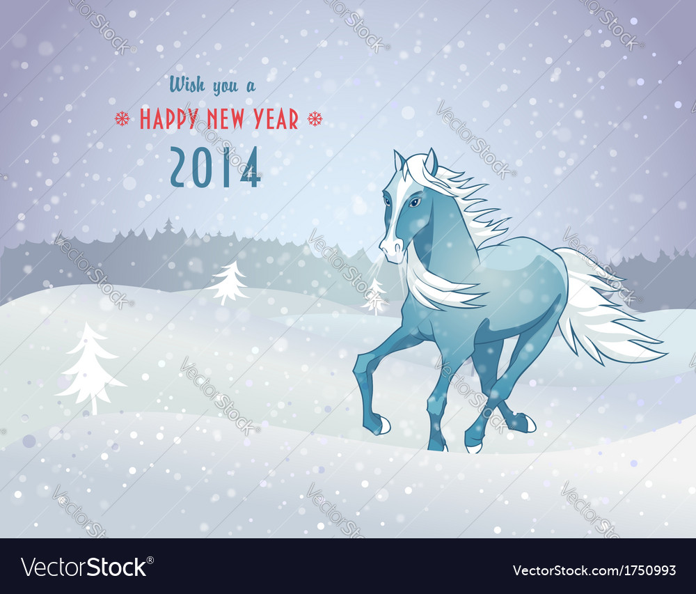 Winter landscape with snow horse new year 2014 vector | Price: 1 Credit (USD $1)