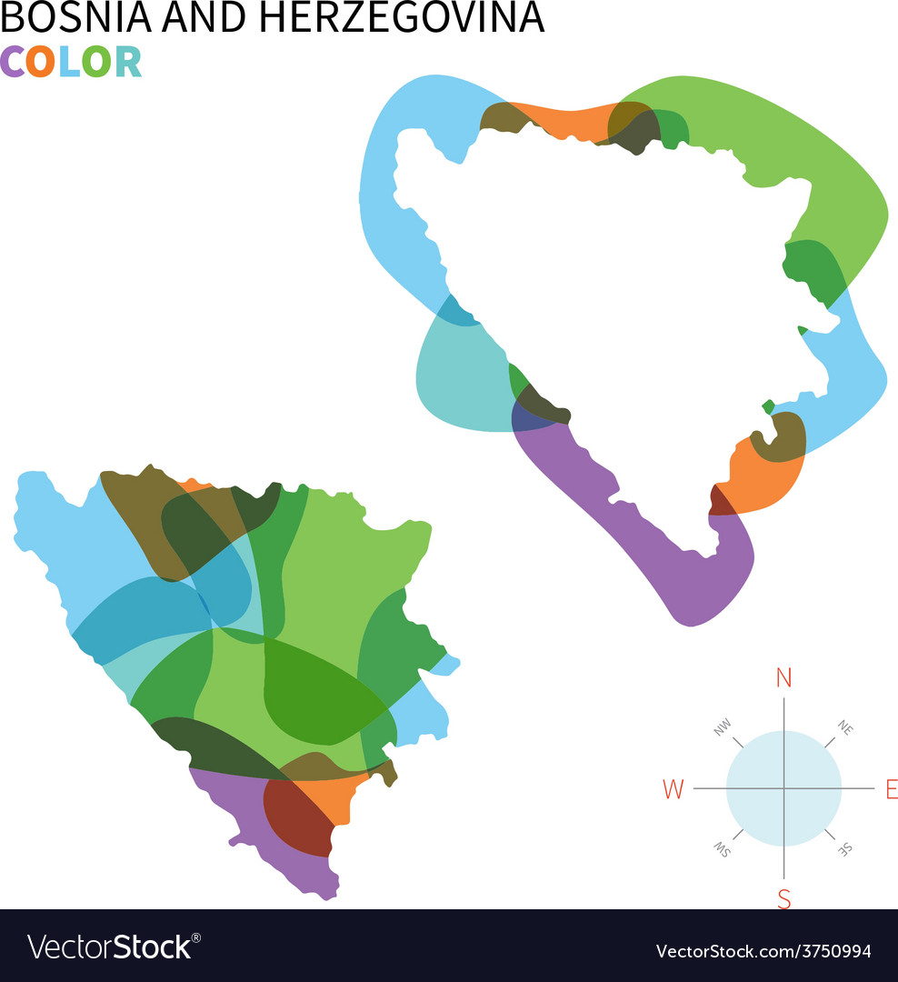 Abstract color map of bosnia and vector | Price: 1 Credit (USD $1)