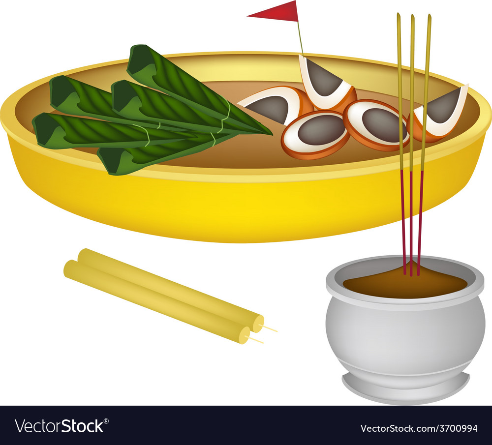 Areca nuts and betel leaves with candle and joss s vector | Price: 1 Credit (USD $1)
