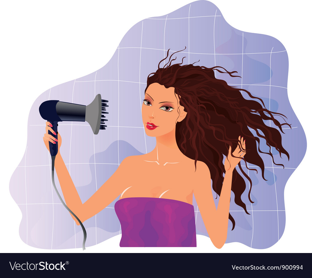 Brunette girl with hairdryer vector | Price: 3 Credit (USD $3)