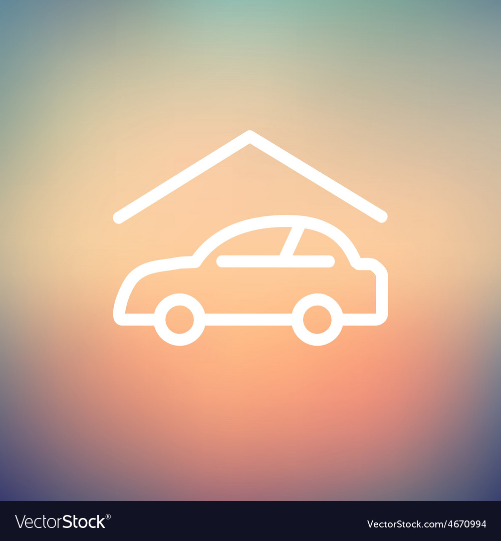 Car garage thin line icon vector | Price: 1 Credit (USD $1)