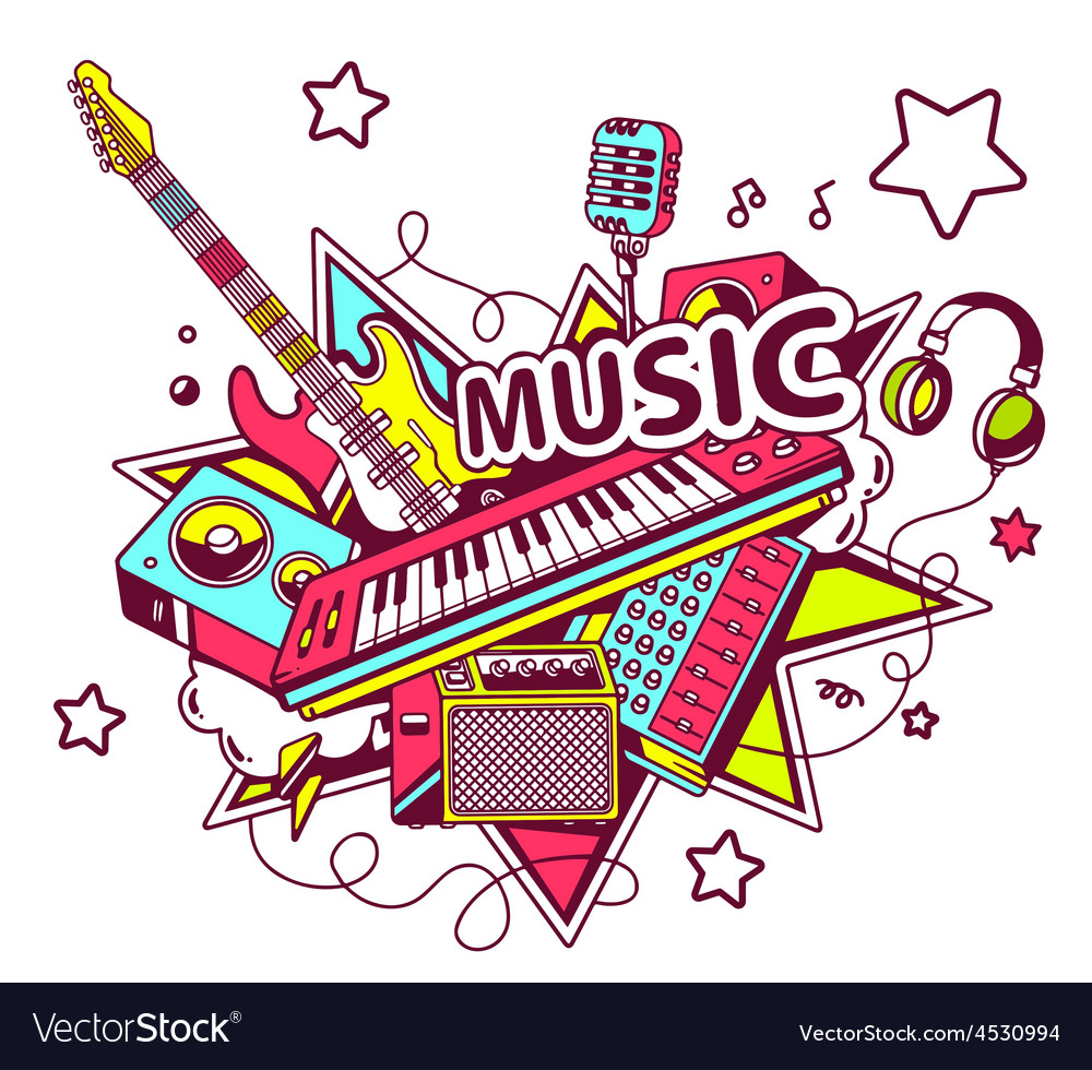 Colored set of musical instruments on a l vector   Price: 1 Credit (USD $1)
