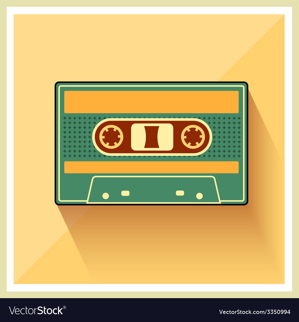 Compact cassette on retro background vector | Price: 1 Credit (USD $1)