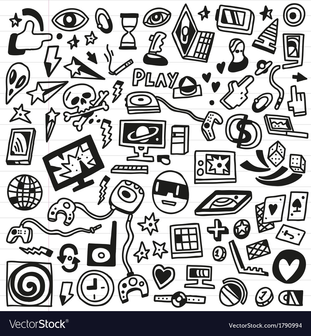 Computer games - doodles set vector | Price: 1 Credit (USD $1)