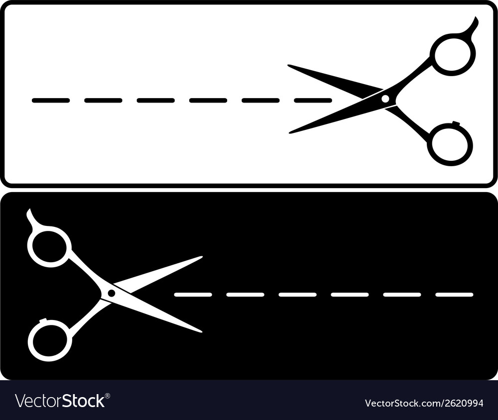 Cut line and scissors vector | Price: 1 Credit (USD $1)