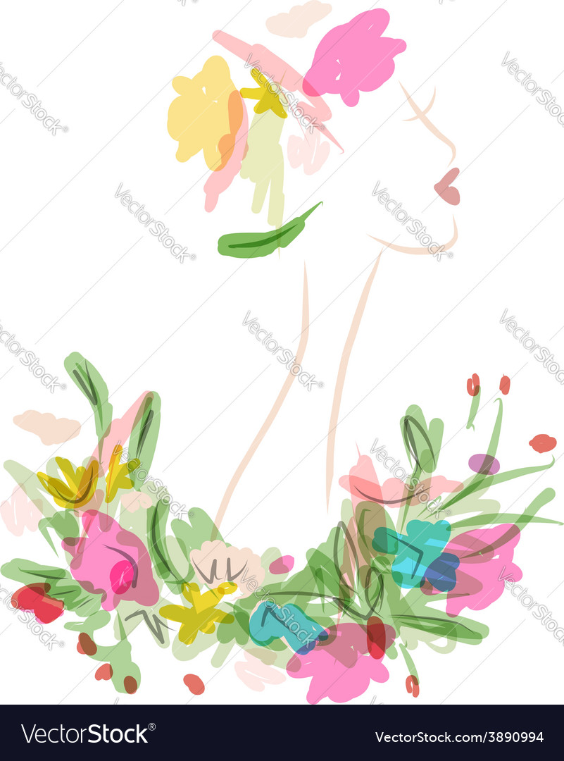 Female profile with floral hairstyle for your vector | Price: 1 Credit (USD $1)