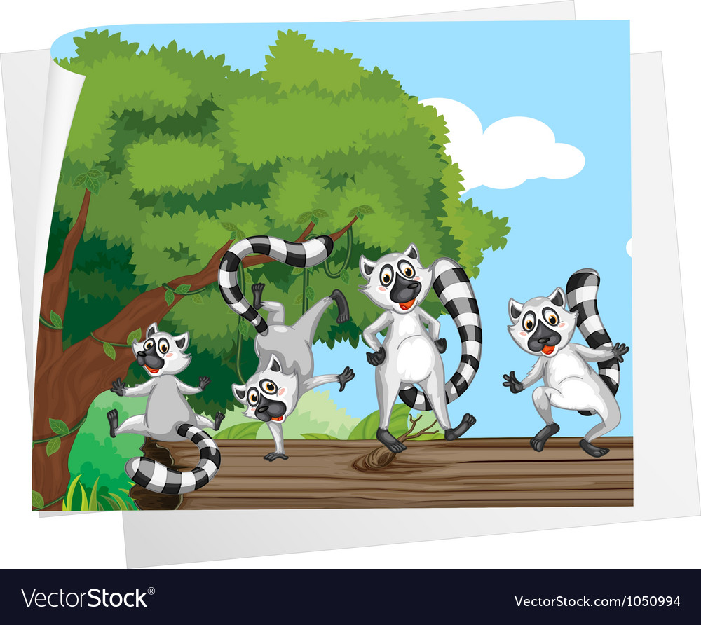Lemurs on a log vector | Price: 3 Credit (USD $3)