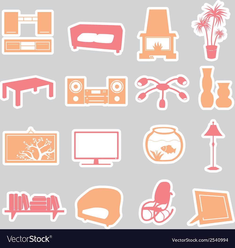 Living room stickers set eps10 vector | Price: 1 Credit (USD $1)