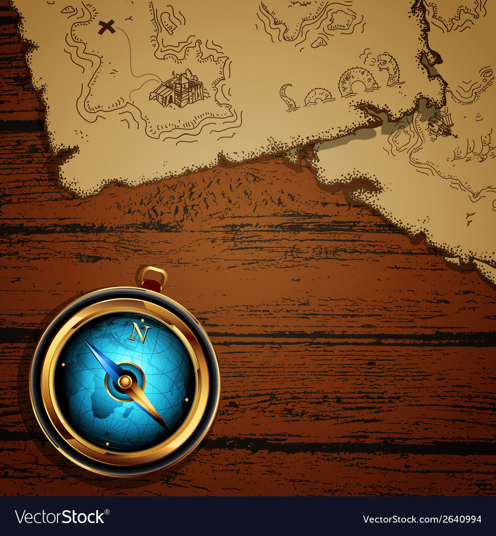 Marine theme compass and map vector | Price: 1 Credit (USD $1)