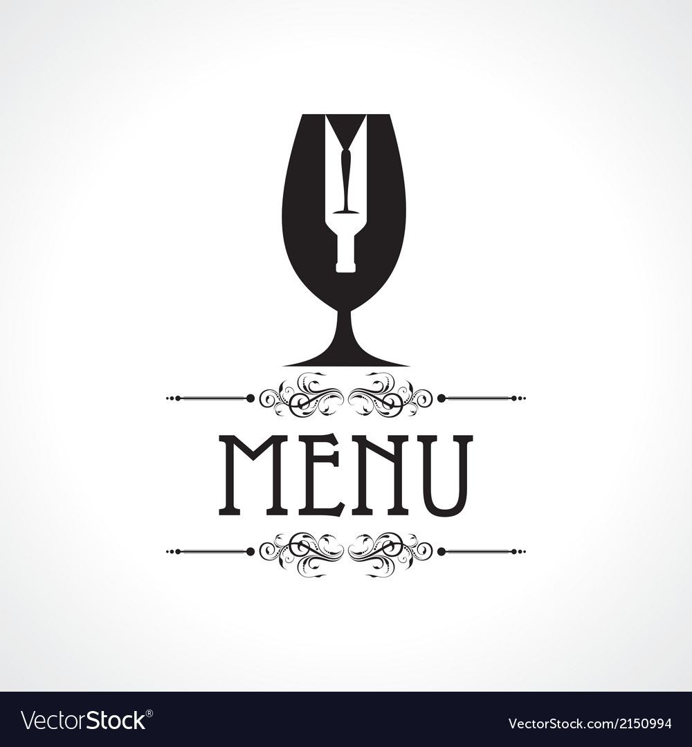 Menu card with wine glass and bottle vector | Price: 1 Credit (USD $1)