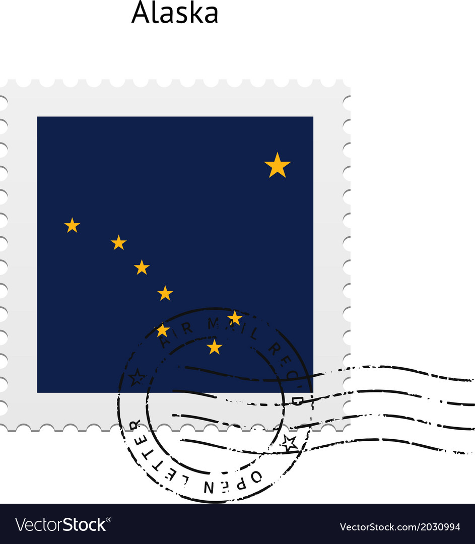 State of alaska flag postage stamp vector | Price: 1 Credit (USD $1)