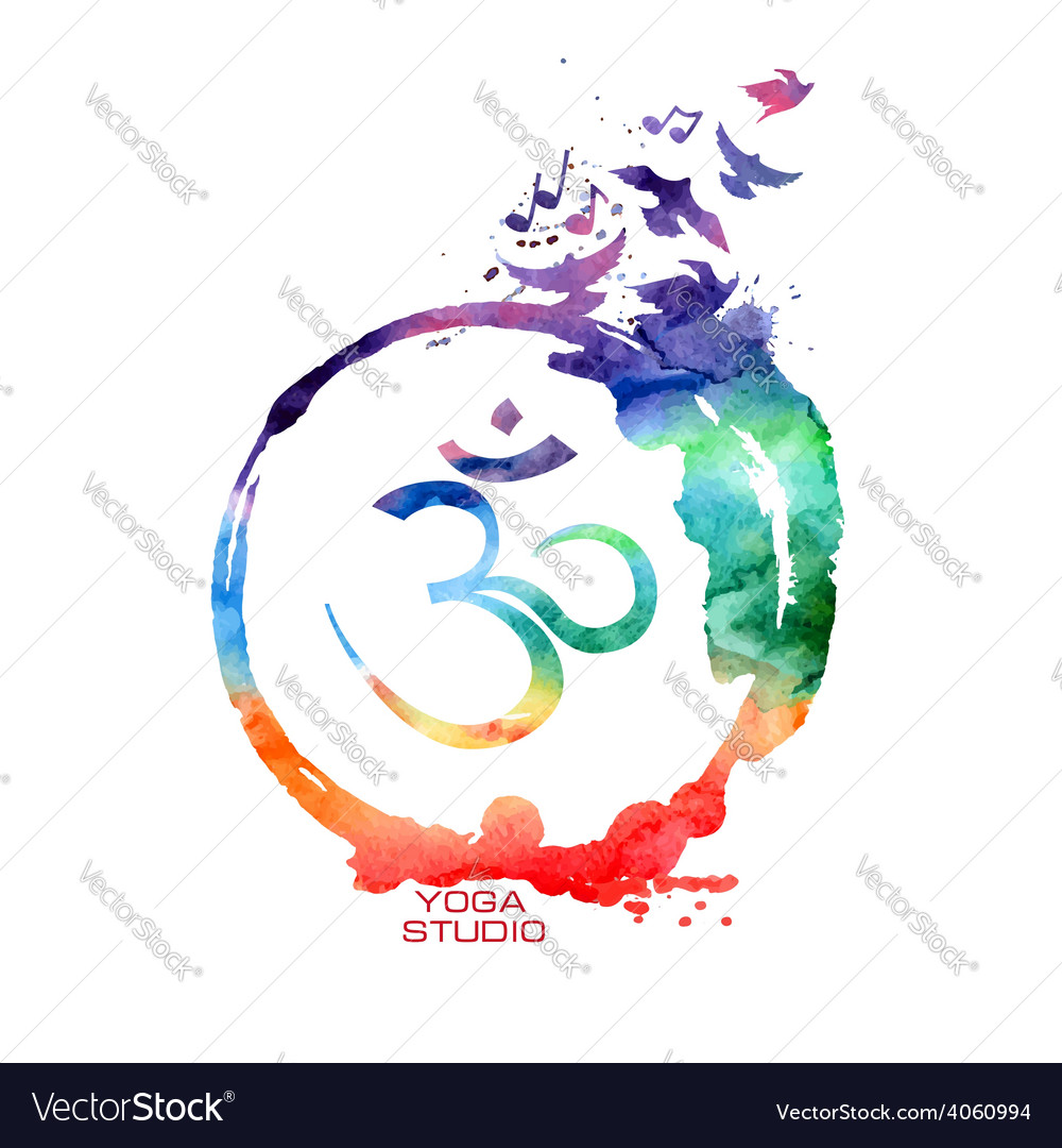 Watercolor om sign label vector | Price: 1 Credit (USD $1)