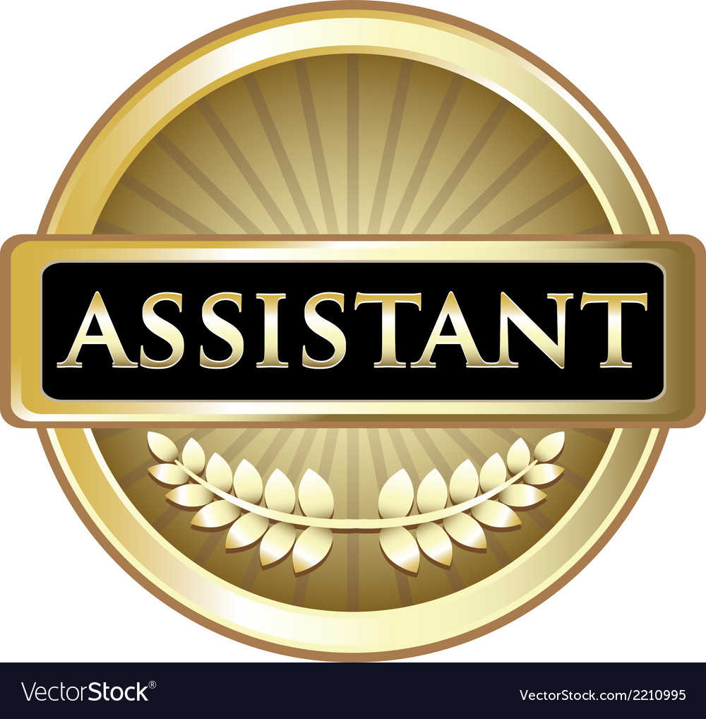 Assistant gold label vector | Price: 1 Credit (USD $1)