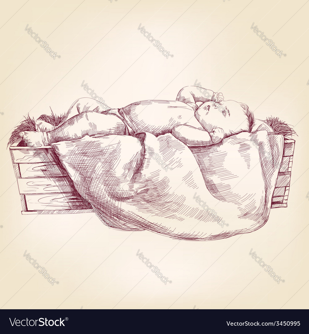 Baby jesus in the manger hand drawn llustration vector | Price: 1 Credit (USD $1)