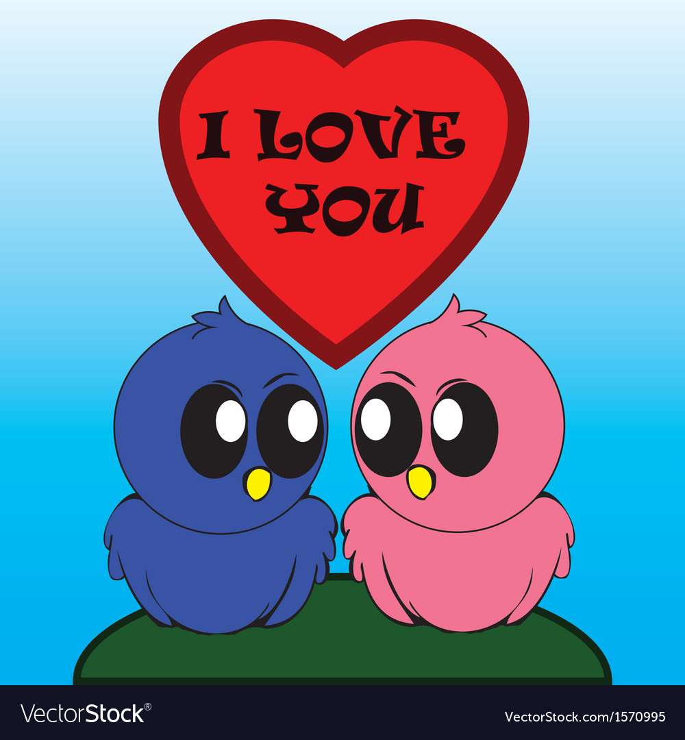 Birds i love you vector | Price: 1 Credit (USD $1)