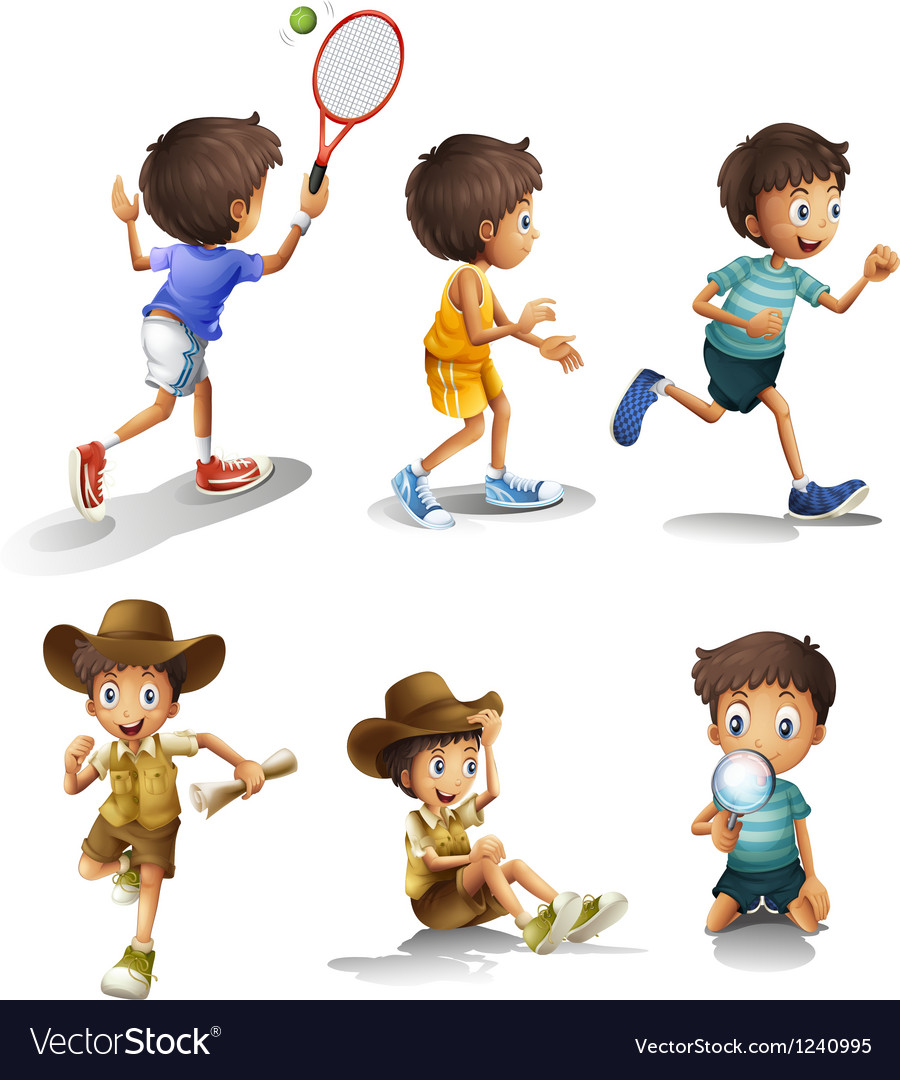 Boys with different activities vector | Price: 1 Credit (USD $1)