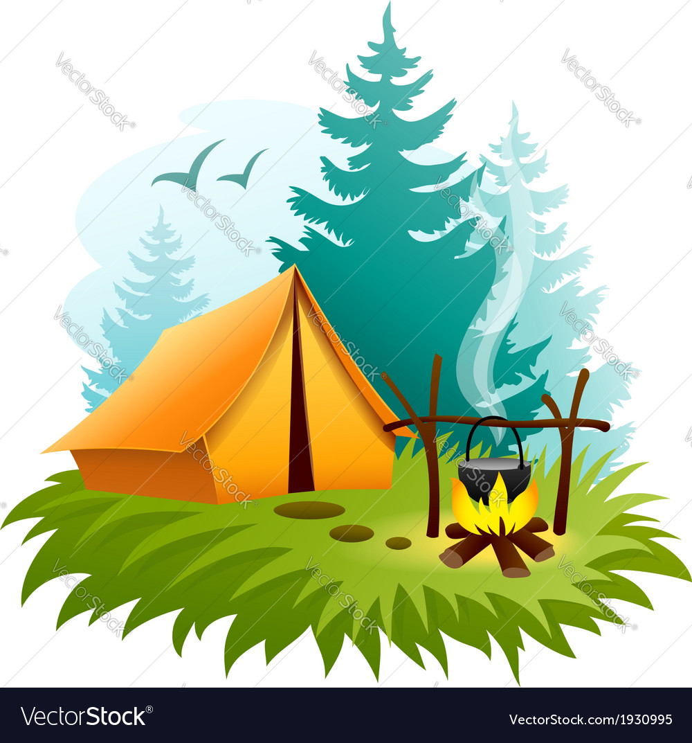 Camping in forest with tent vector | Price: 1 Credit (USD $1)