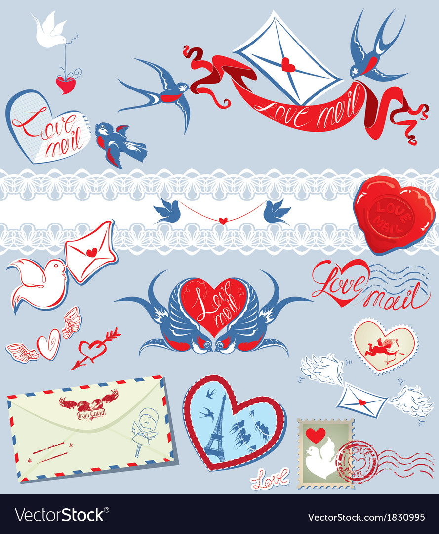 Collection of love mail design elements - birds vector | Price: 1 Credit (USD $1)