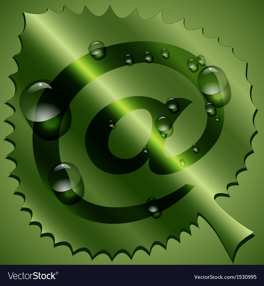 Green leaf with email sign vector   Price: 1 Credit (USD $1)