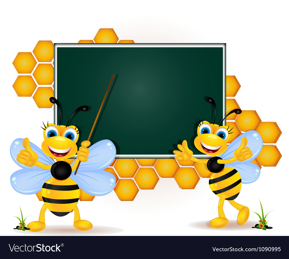 Happy bee cartoon with blank board vector   Price: 1 Credit (USD $1)