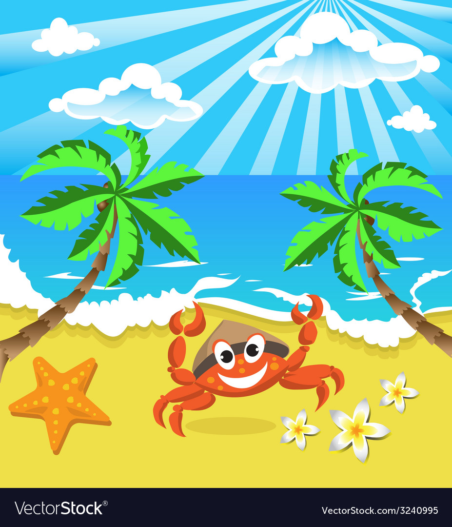 Happy crab in hat with star and flowers vector | Price: 1 Credit (USD $1)