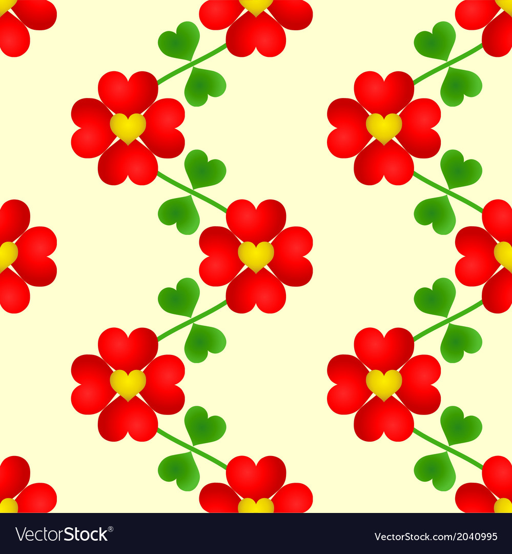 Heart flower seamless wallpaper vector | Price: 1 Credit (USD $1)