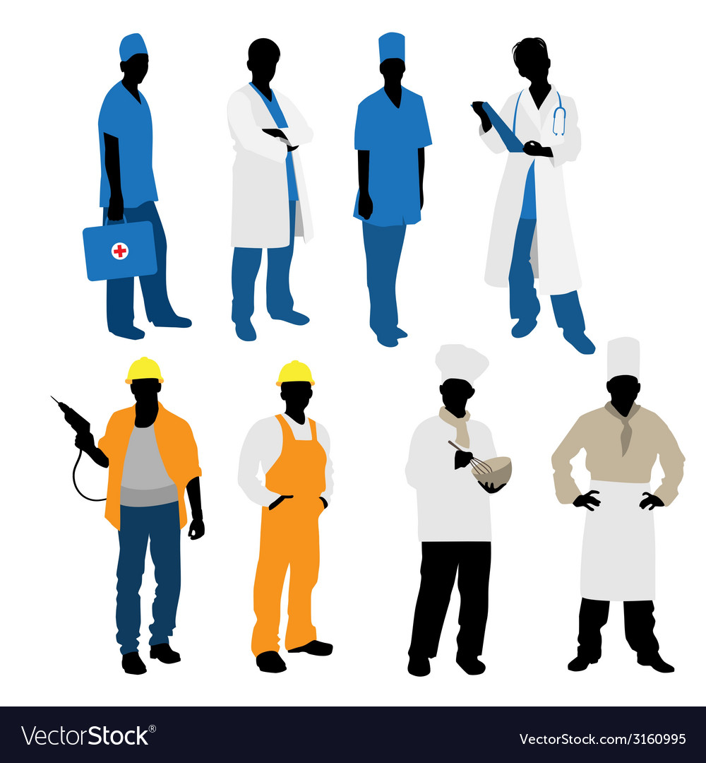Professions silhouettes vector | Price: 1 Credit (USD $1)