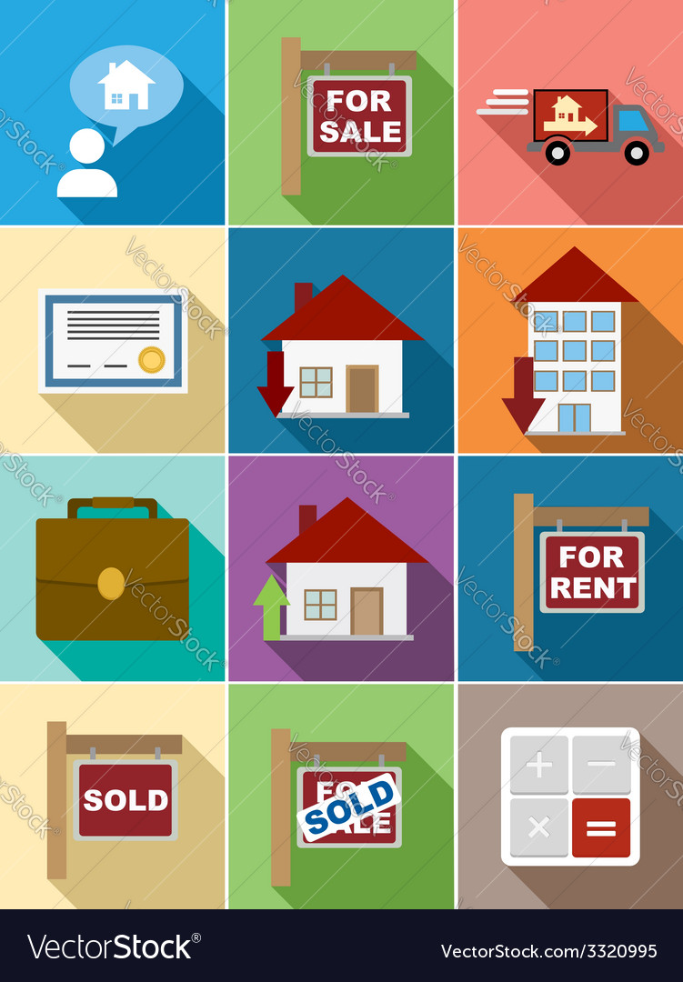 Real estate flat icons set design vector | Price: 1 Credit (USD $1)