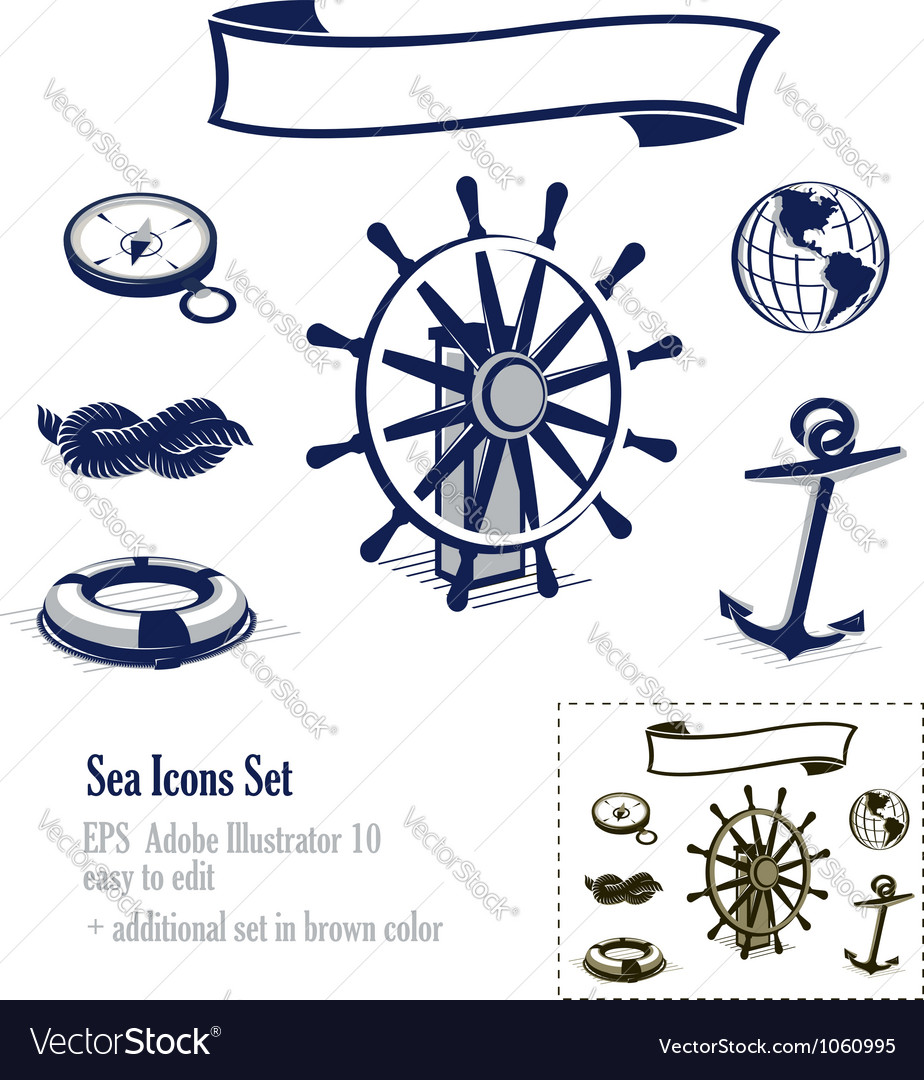 Sea and nautical icons set vector | Price:  Credit (USD $)