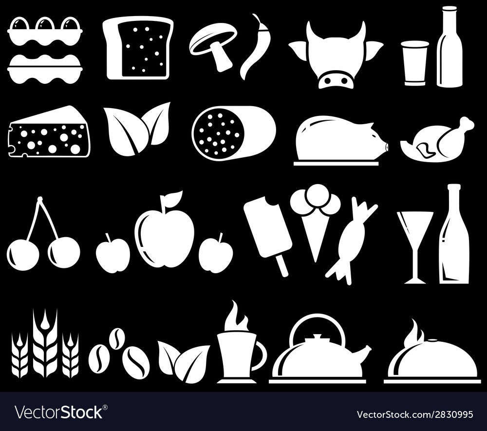 Set food objects on black background vector | Price: 1 Credit (USD $1)