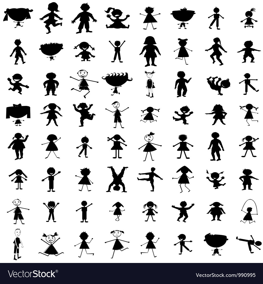Set of hand drawn children silhouettes vector | Price: 1 Credit (USD $1)