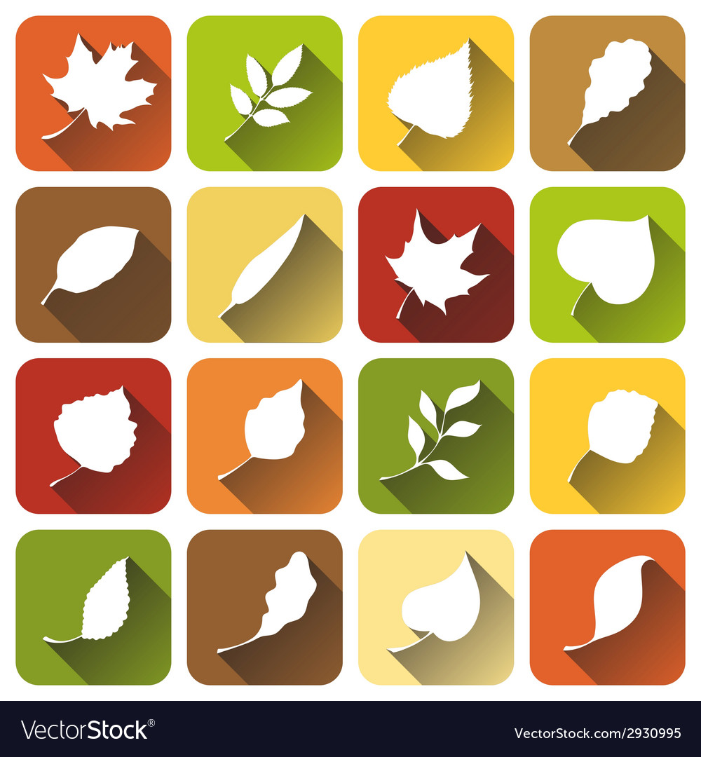 Set of square autumn icons vector | Price: 1 Credit (USD $1)