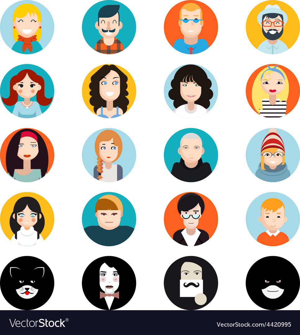 Stylish handsome male and female characters avatar vector | Price: 1 Credit (USD $1)