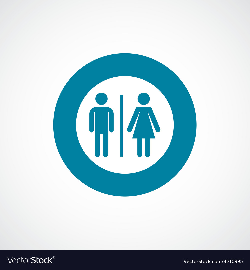 Toilet icon bold blue circle border vector | Price: 1 Credit (USD $1)