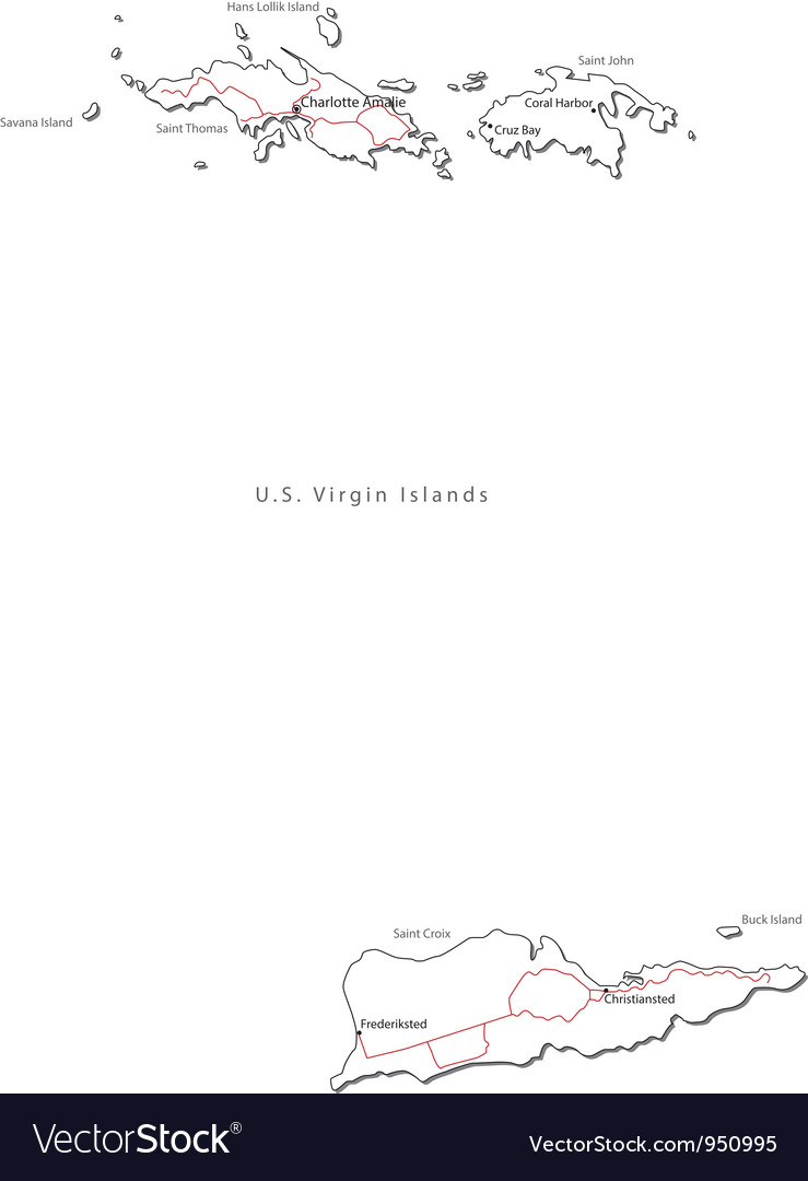 Us virgin islands black white map with major citie vector | Price: 1 Credit (USD $1)